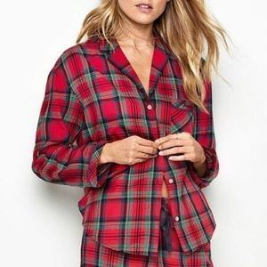 Victoria's Secret Dream Red Plaid Pajamas Shirt L